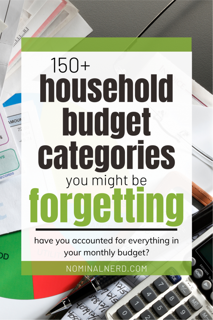 Struggling with filling in your monthly budget? Check out our list of over 150 household budget categories so you don't miss anything in your budget! household budget categories | budget percentages | monthly budget | house | household | budget