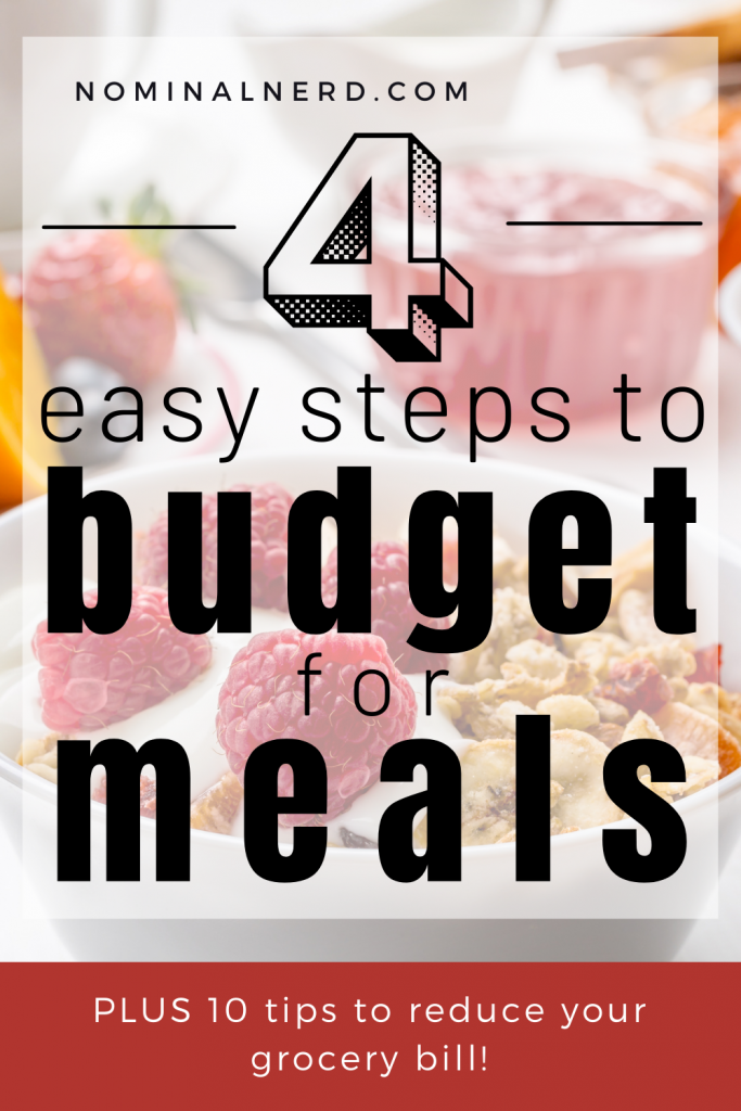 Do you go over budget often when grocery shopping? I've got 4 easy steps for budgeting for meals, plus tips to save top dollar at the grocery store! budgeting for meals | grocery budget | food budget | save money at grocery store